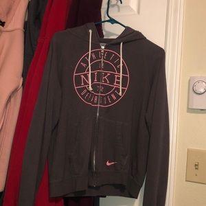 Grey and pink nike hoodie